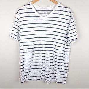 Merona White Navy Stripe The Ultimate Tee V-Neck